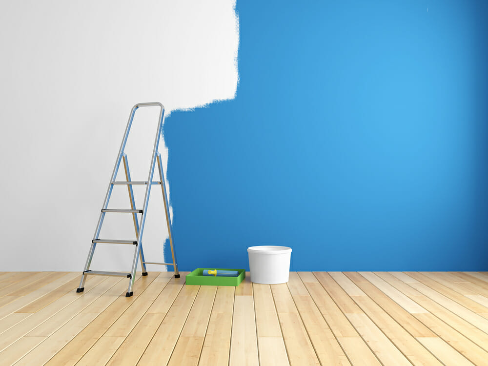 office space productivity by blue paint
